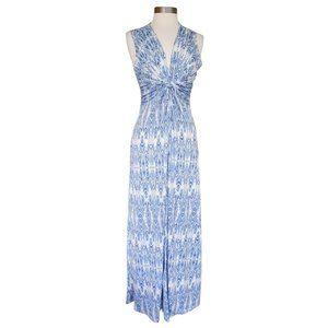 BOSTON PROPER Blue White Twist Front Maxi Dress